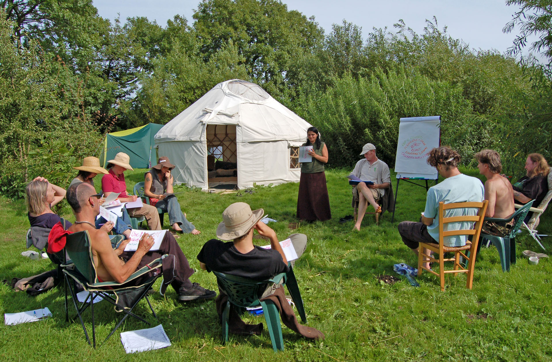 Outside session wirth yurt - summer
